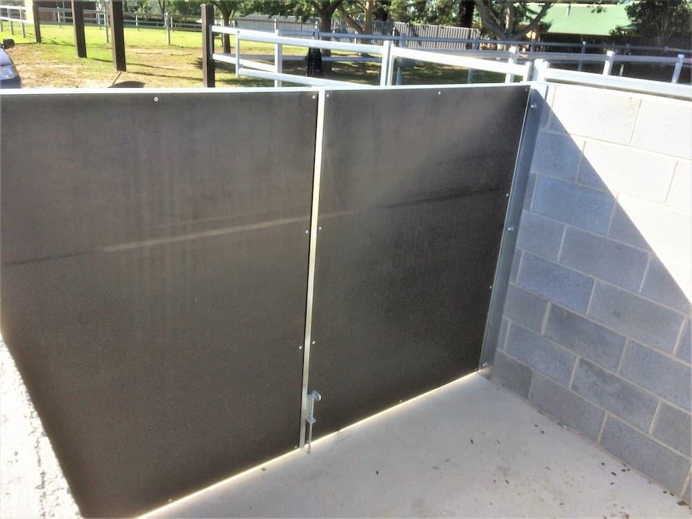 Shavings and bin bay steel frame swinging form ply lined entry doors