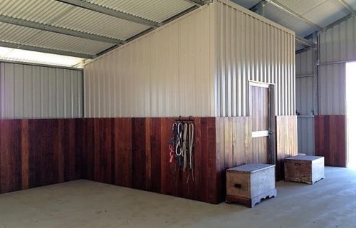Breezeway barn tie up area tack room hardwood timber lined colorbond wall cladding
