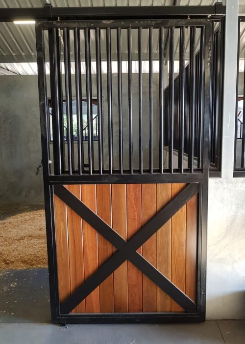 Stable door sliding cross feature powdercoated hardwood lined fixed grill