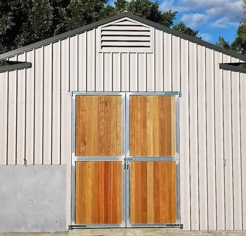 Stable barn doors steel frame timber lined swinging