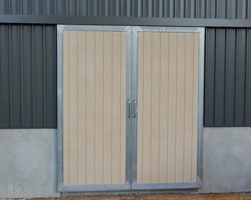 Stable barn entry doors sliding steel frame shadow clad lined galvanized
