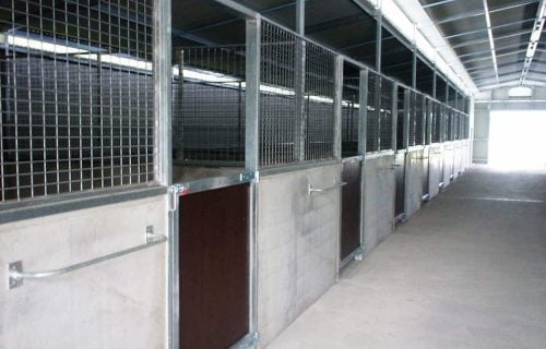 Breezeway barn half height precast concrete and mesh stable walls steel frame form ply lined swinging stable door rug rail and ventilated roof