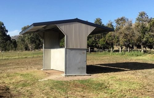 Horse paddock shade shelter precast concrete colorbond wall