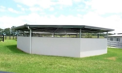 Horse round yard straight wall precast concrete panel and combined segmented colorbond roof