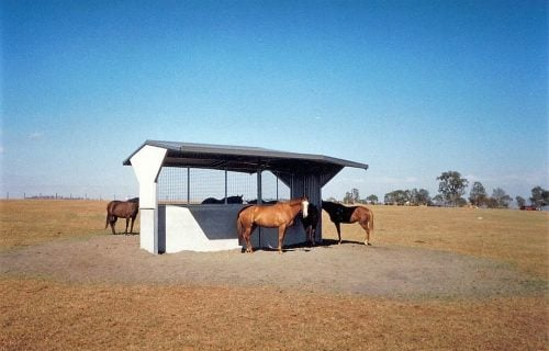 Horse paddock angled shade shelter precast concrete colorbond wall