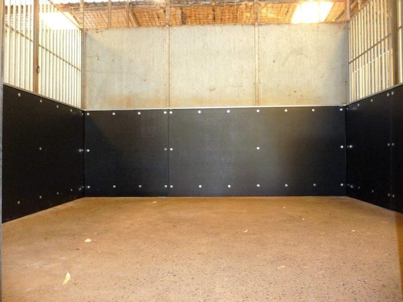 Repair old steel stable repair portastall install steel frame and recycled plastic sheet
