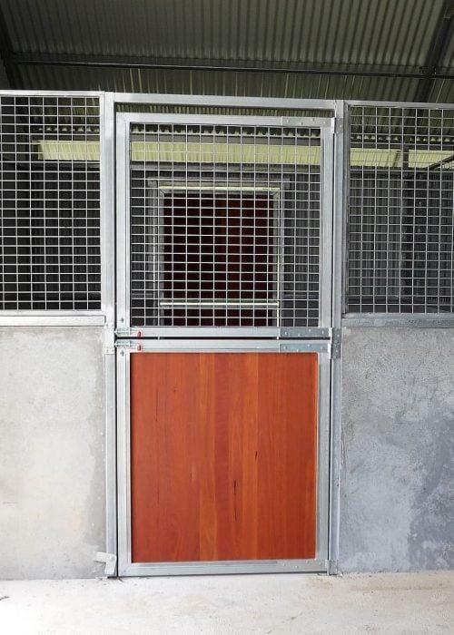 Stable door swinging steel frame galvanized hardwood and mesh