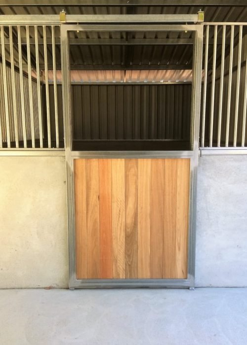 Stable door sliding steel frame hardwood lined no grill